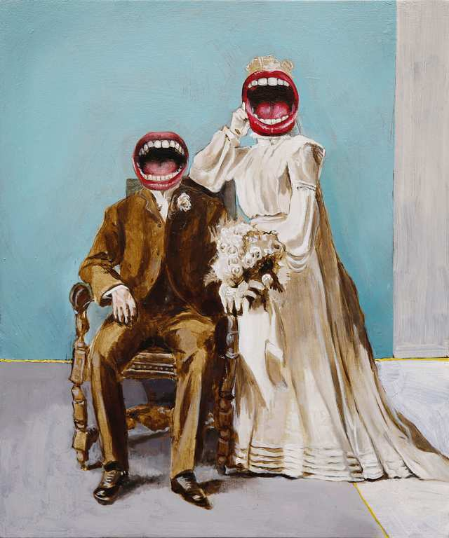 The Smiling Bride And Groom, oil on wood