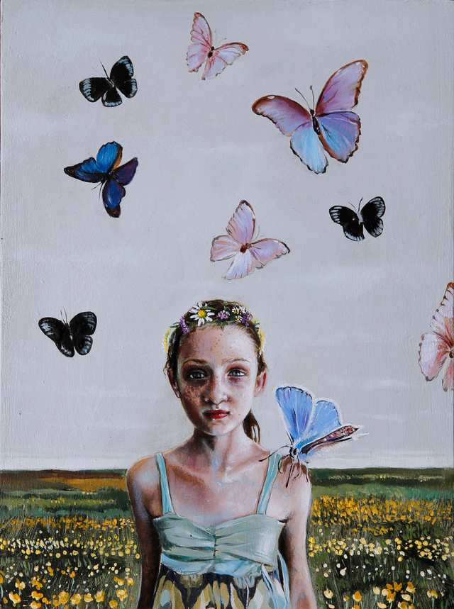 Girl With Butterflies, oil on wood
