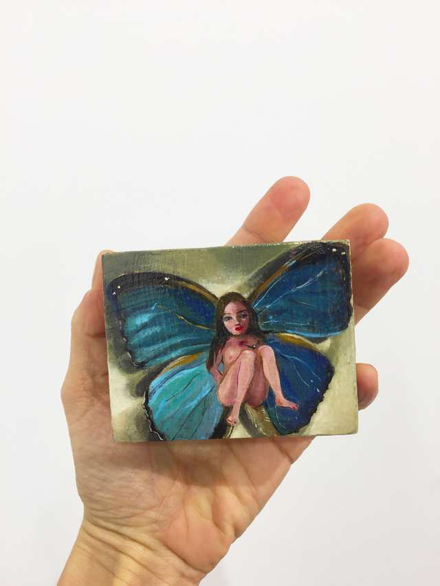 Butterfly Girl, oil on wood