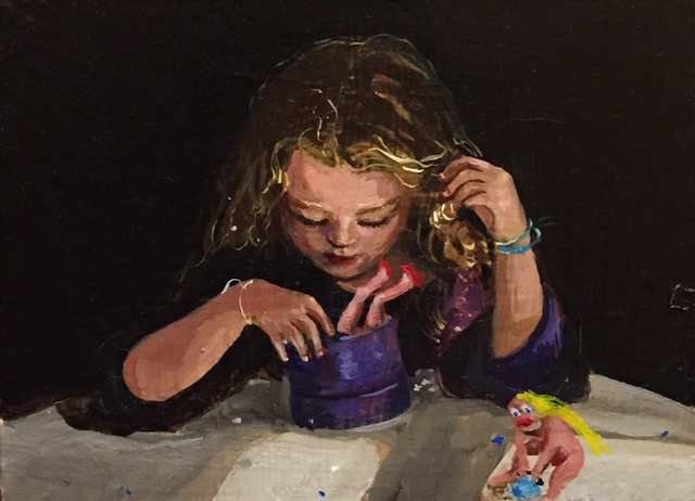 Girl with Box, oil on wood